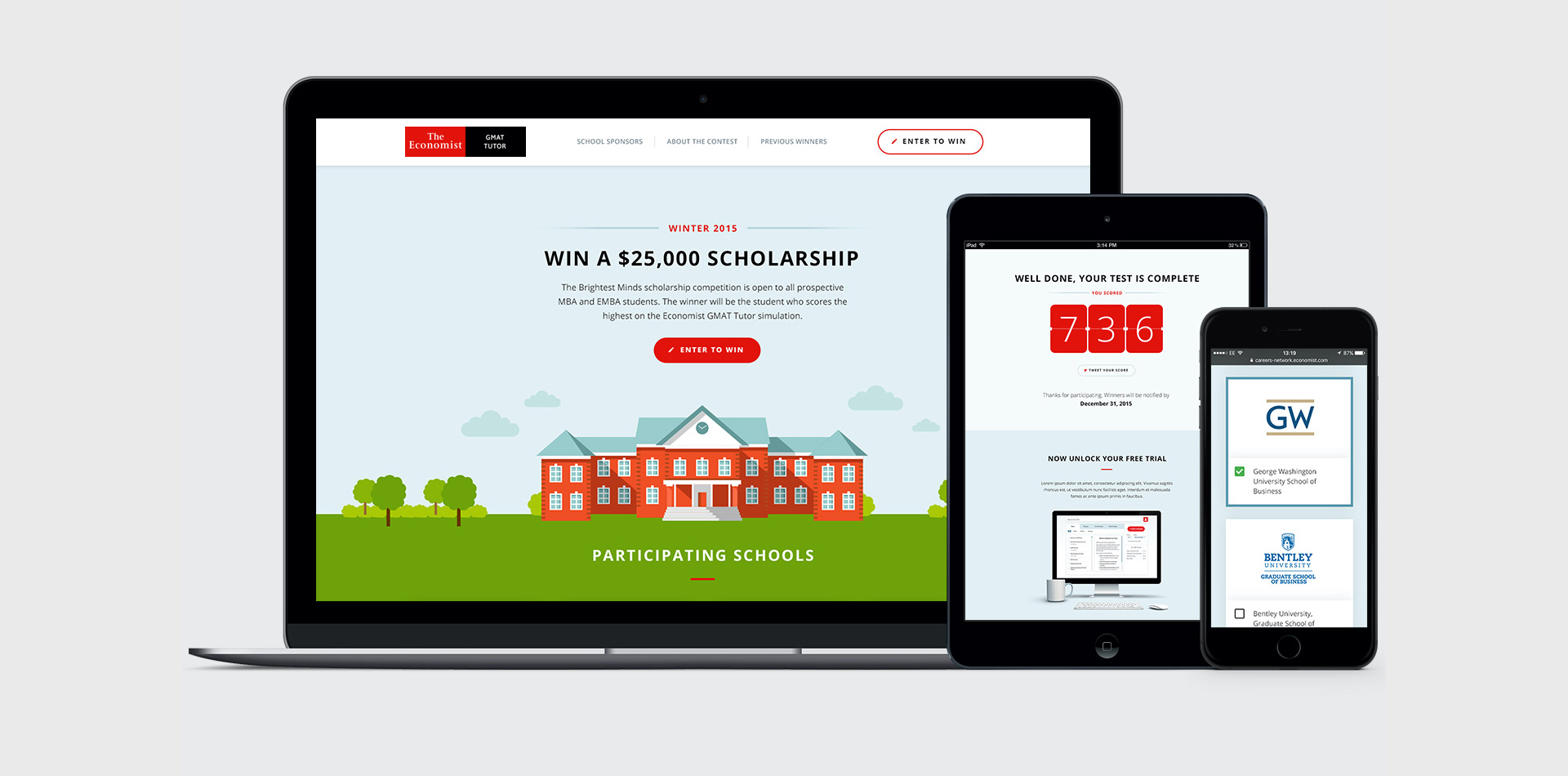 Screens from a competition microsite we designed