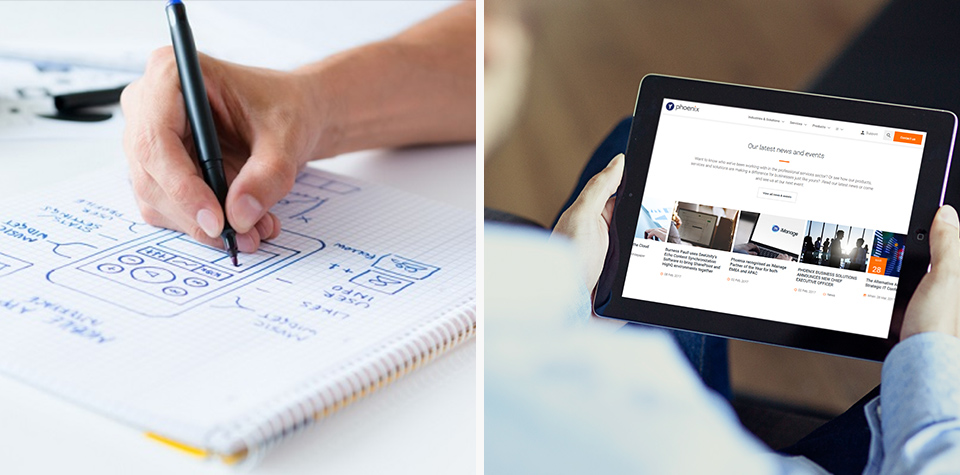 Example wireframing and prototyping on an ipad