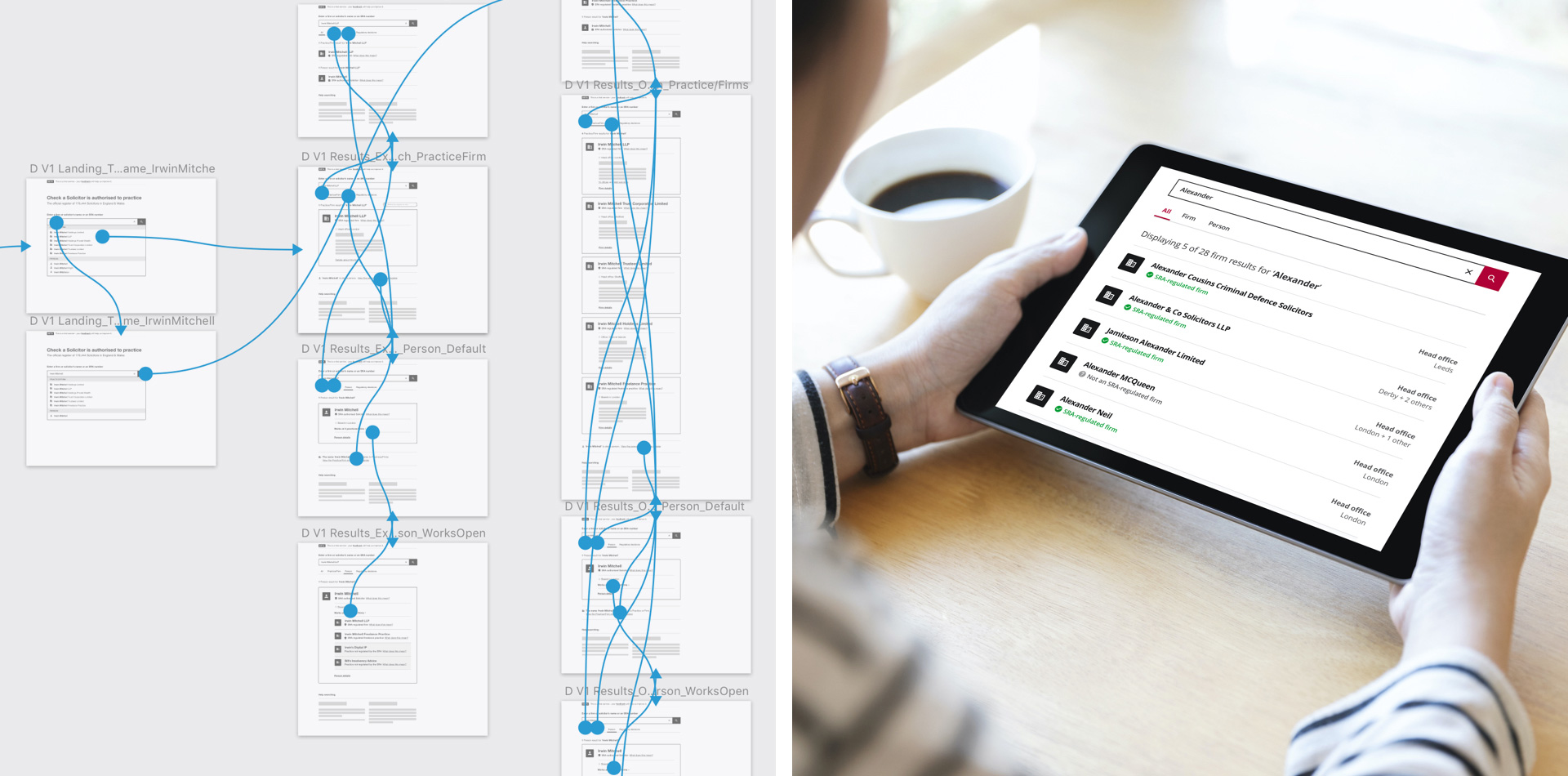 Prototyping user journeys allowed us to work quickly to iterate and test our design solutions