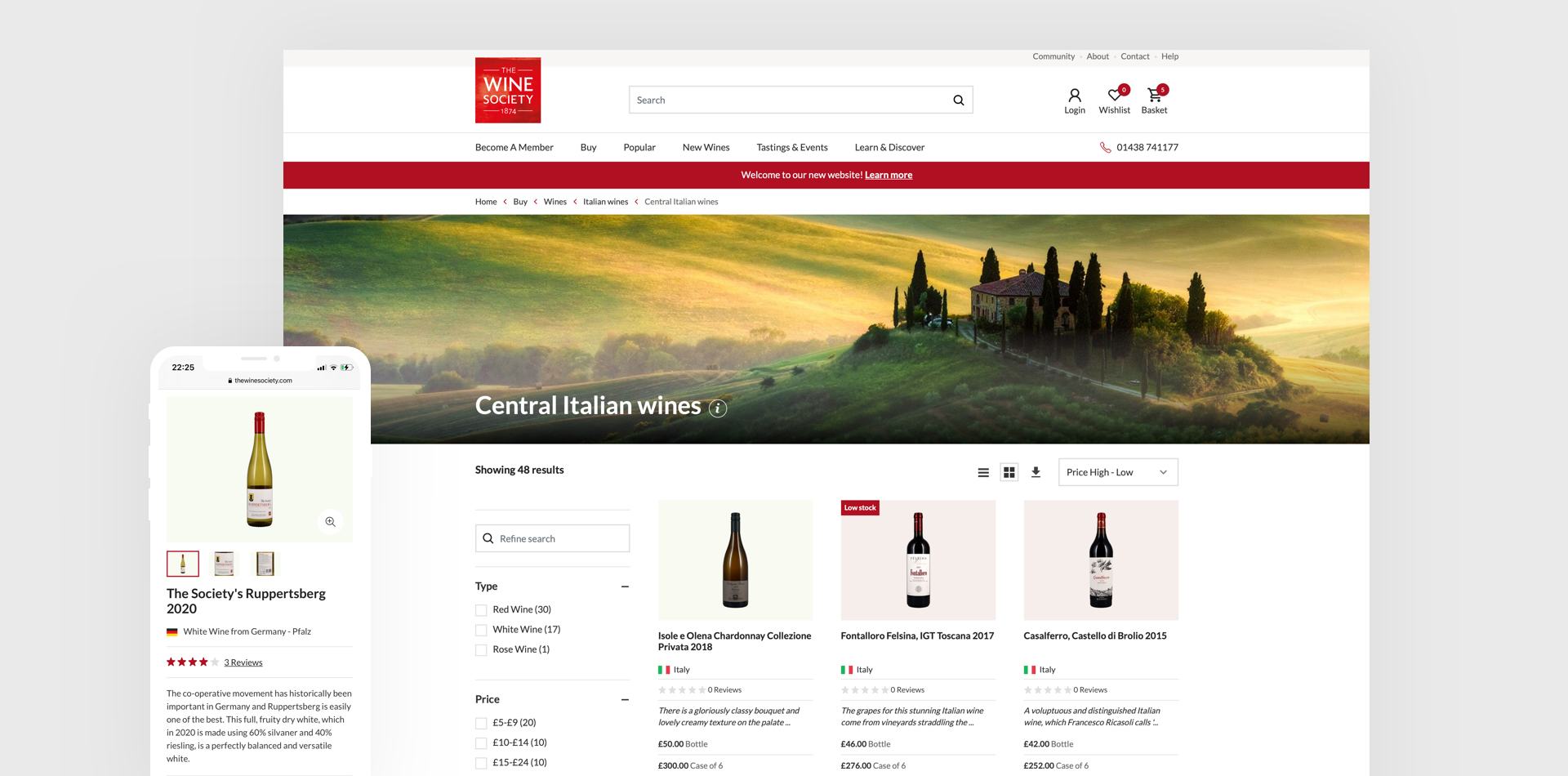 Images of The Wine Society website